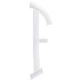 White Circular Monogram Iron-On Right Letter F - 1 3/4""
