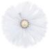 White Round Flower Rhinestone Clip