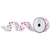 """Pink & Gold Hearts Single-Face Satin Ribbon - 1 1/2"""""""