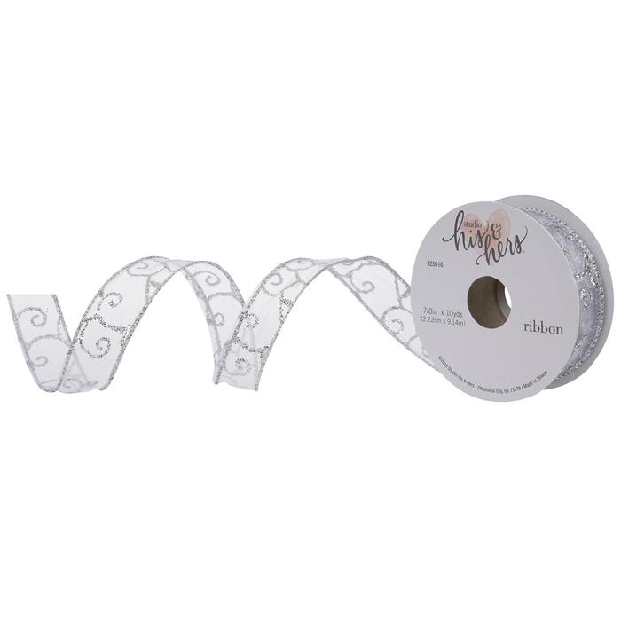 Silver Glitter Swirl Wired Edge Sheer Ribbon 7 8 Hobby Lobby 1880