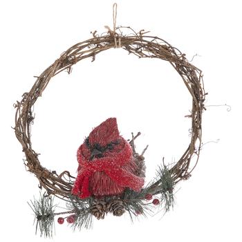 Cardinal Wearing Scarf Wreath Embellishment
