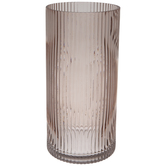 Pink Ribbed Cylinder Glass Vase - Large