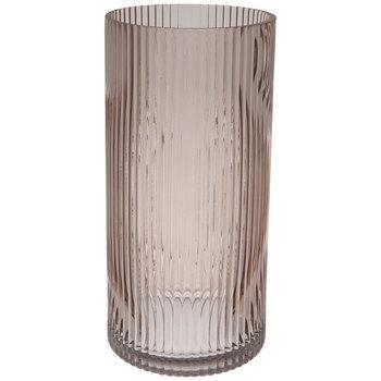 Pink Ribbed Cylinder Glass Vase