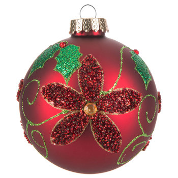 Beaded Flower & Glitter Holly Ball Ornament