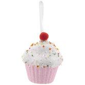 Pink Glitter Cupcake Ornament