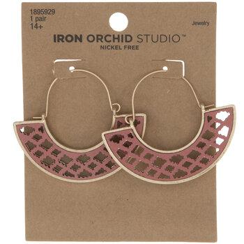 Pink Ornate Swing Earrings