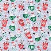 Hot Chocolate Snowmen Cotton Fabric