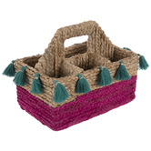 Pink & Teal Rattan Woven Caddy
