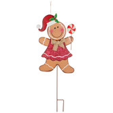 Gingerbread Girl Metal Garden Stake