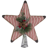 Red & White Striped Star Tree Topper