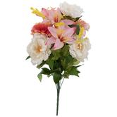Peach & White Hydrangea, Peony, Lily & Zinnia Bush