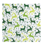 White & Green Patterned Reindeer Gift Wrap