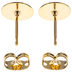 18K Gold Plated Earring Posts With Flat Pad & Clutch - 8mm
