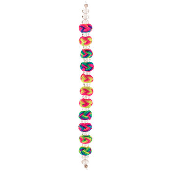 Neon Cord Wrapped Knotted Bead Strand