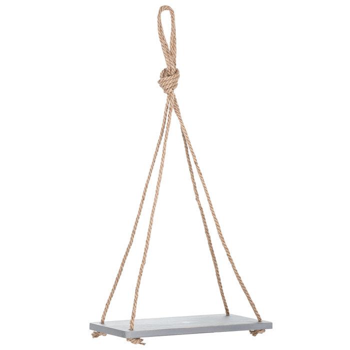 Gray Wood Hanging Rope Shelf