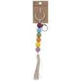 Multi-Color Wood Beaded Keychain