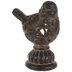 Brown Wood Look Ornate Bird Finial