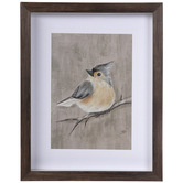 Gray Winter Bird Framed Wall Decor