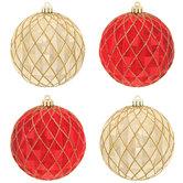 Red & Gold Diamond Ball Ornaments