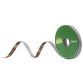 "Red & Green Glitter Striped Ribbon - 3/8"""