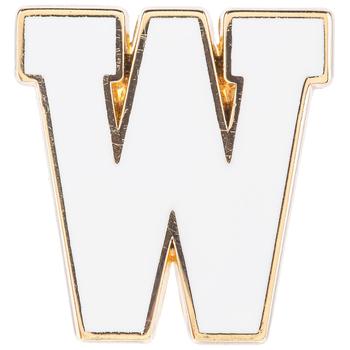 White Letter Metal Pin - W