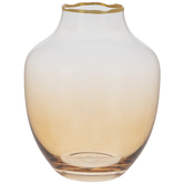 Amber Ombre Glass Vase With Gold Trim
