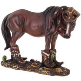 Brown Horse with Boots & Hat
