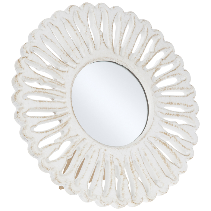 Round Carved Feather Wood Mirror, Carved Wood Mirror Round