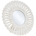 Round Carved Feather Wood Mirror