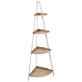 Four-Tiered Wood Corner Shelf