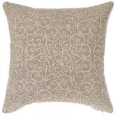 Beige Flourish Pillow Cover
