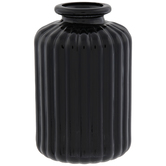 Black Ridged Glass Vase