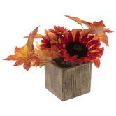 Orange Sunflower Arrangement In Distressed Pot