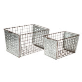 Wire Galvanized Metal Basket Set