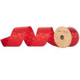 "Red Glitter Quatrefoil Wired Edge Ribbon - 2 1/2"""