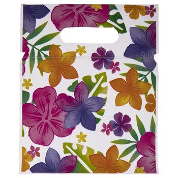 Luau Flowers Zipper Bags With Handles