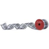 "Black & White Plaid Wired Edge Ribbon  - 2 1/2"""