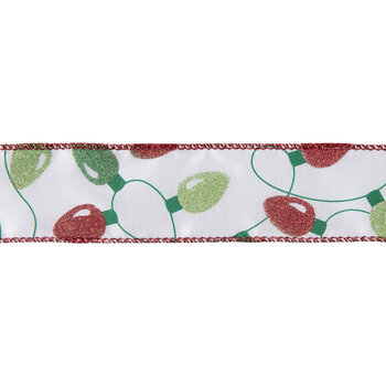 """Red & Green Glitter Lights Wired Edge Single-Face Satin Ribbon - 1 1/2"""""""