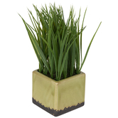 Grass In Square Crackle Pot