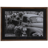 Black & White Flower Truck Framed Wall Decor