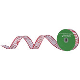 "Red & White Snowflakes Wired Edge Ribbon - 1"""