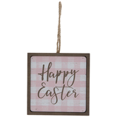 Happy Easter Buffalo Check Wood Ornament