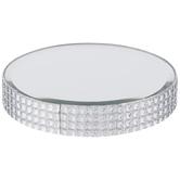 Round Mirror Rhinestone Candle Plate - Small