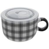 White & Black Plaid Soup Mug