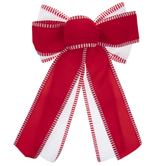 Red & White Striped Linen Bows