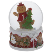 Gingerbread Man With Tree Snow Globe