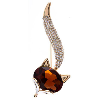 Fox Rhinestone Brooch
