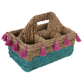 Teal & Pink Rattan Woven Caddy