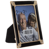 "Black & Gold Rhinestone Enamel Frame - 2 1/2"" x 3 1/2"""