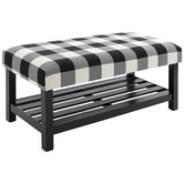 Buffalo Check Cushioned Wood Bench